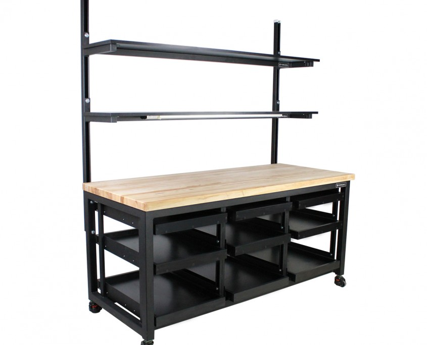 Undermount Pull Out Shelves on Formaspace Benchmarx