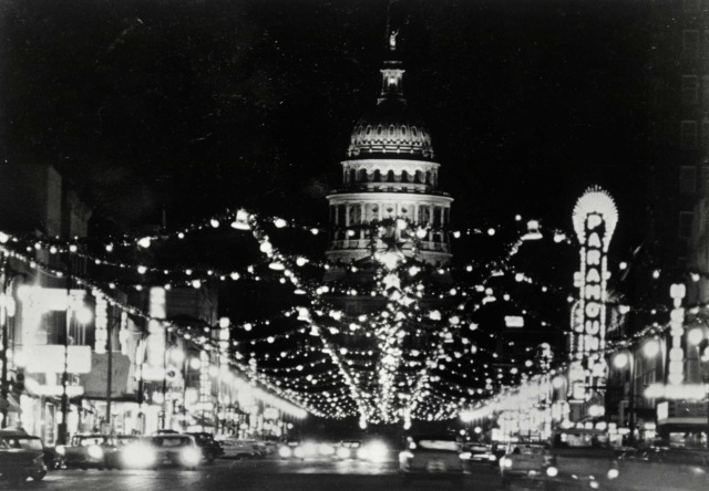 Congress Ave. Christmas Lights circa 1955 Austin, image by Austin Found