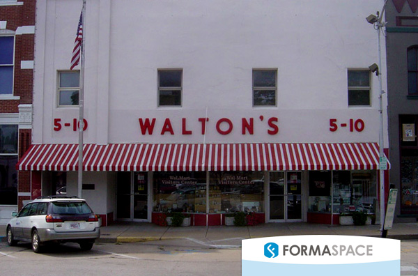 This original Walton's Five and Dime store in Bentonville, Arkansas now serves as the Walmart Visitor Center. Image courtesy WikiMedia.