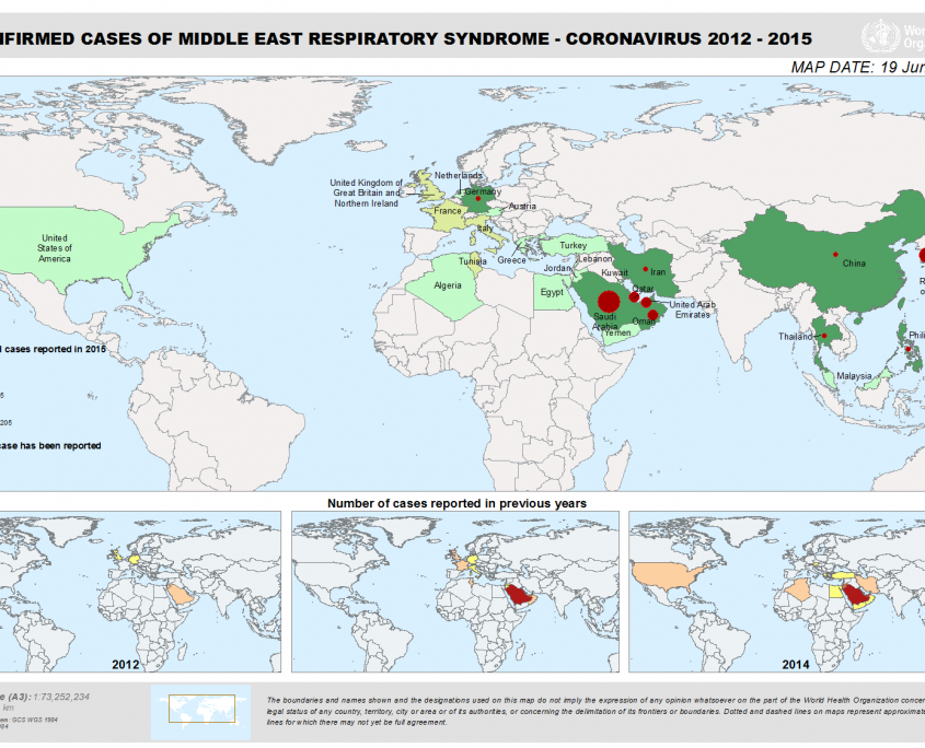 MERS-CoV Outbreak 2012-2015, image by World Health Organization
