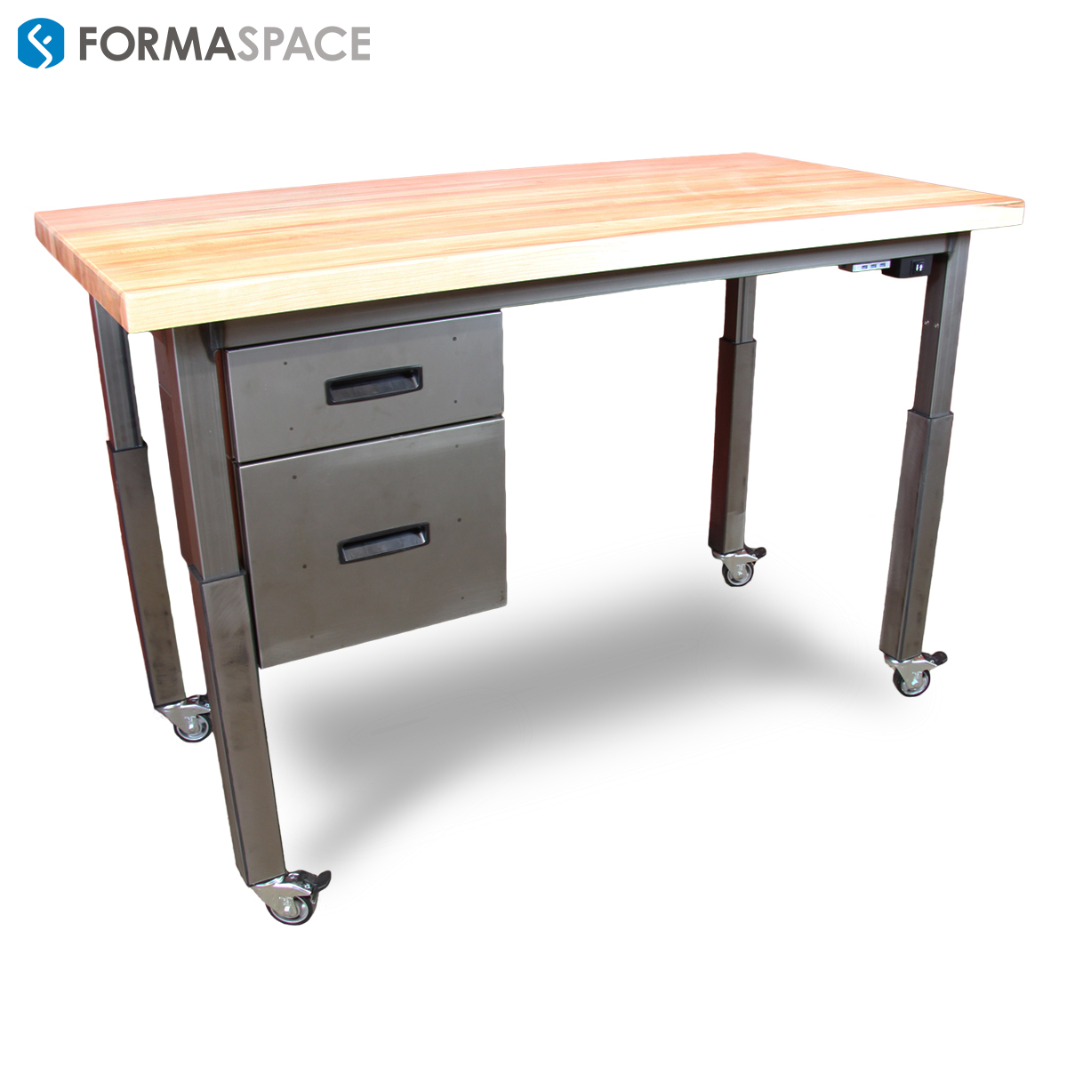 Formaspace Sit-to-Stand Maple Top Desk