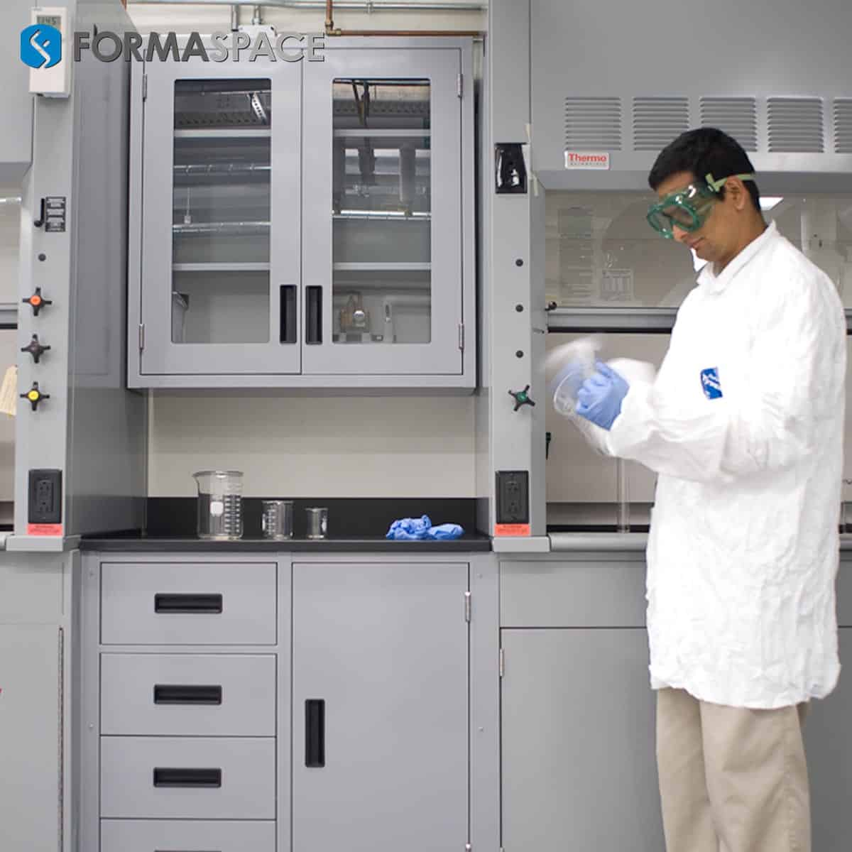 sample processing casework with fumehood
