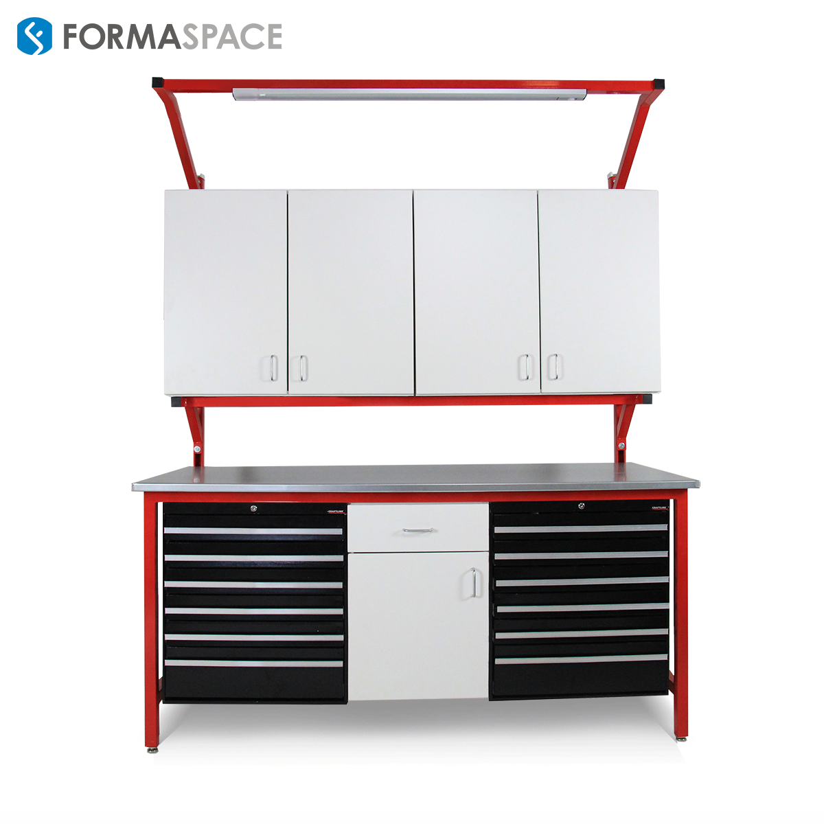 Stainless steel red frame with a resistant countertop and full of storage and drawers.