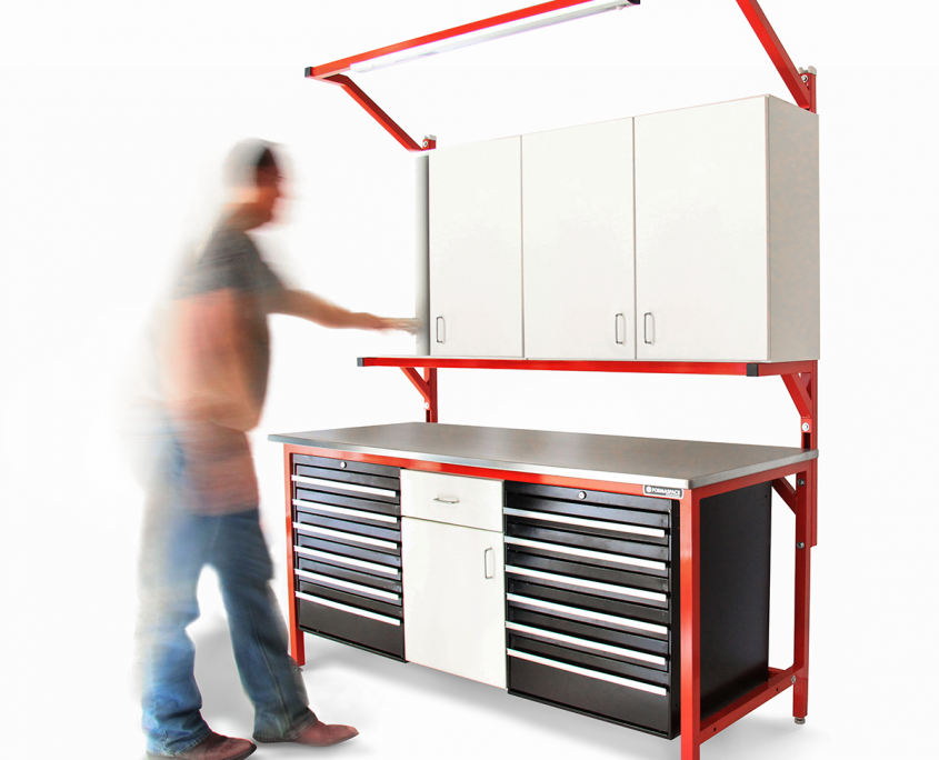 industrial stainless steel with toolboxes and upper cabinets