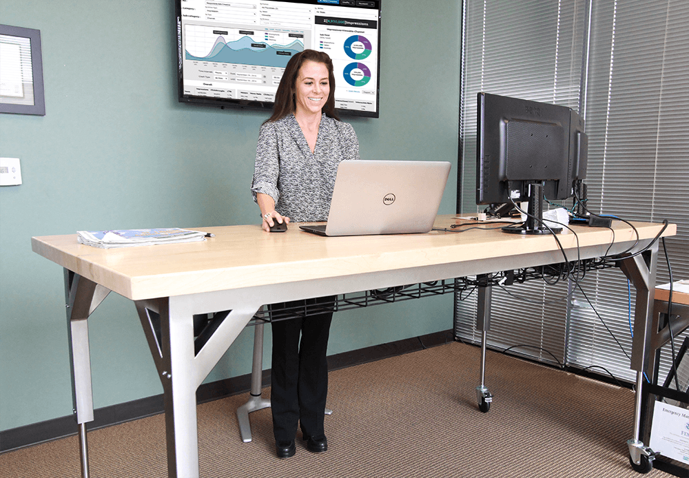 Industrial Looking Sit-to-Stand Desk - Manufactured by Formaspace