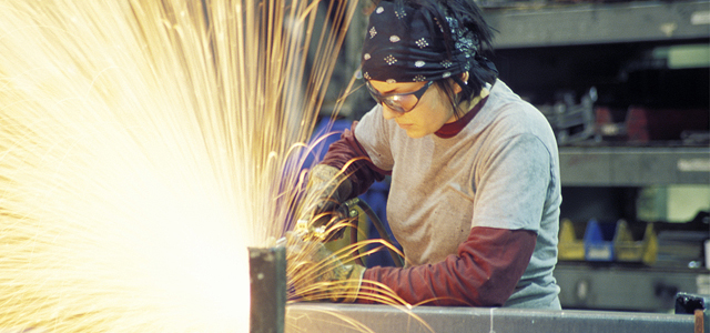 Women training for skilled manufacturing jobs