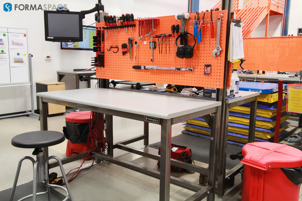 Manufacturing Workbenches with Orange Pegboards