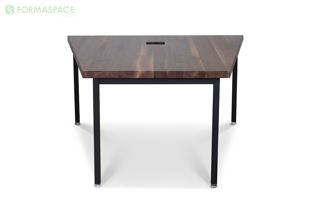 presentation table with trapezoidal wood shape