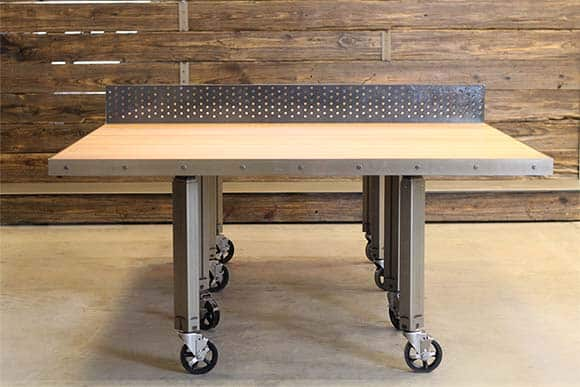Custom height-adjustable ping pong conference table