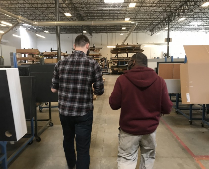Cody and Charles Walking in Formaspace's Manufacturing Facility