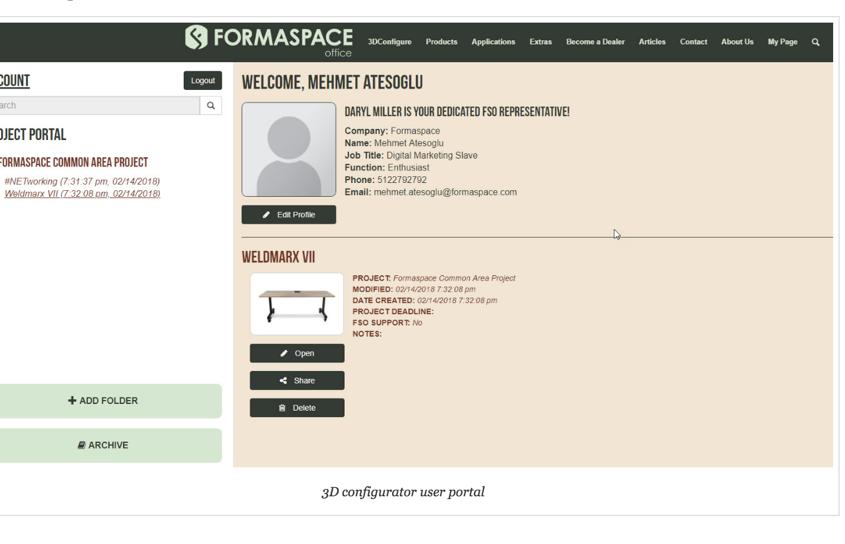 3D configurator user portal
