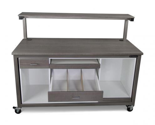 Industrial Bench Plus customized with Woodgrain HPL powder coat