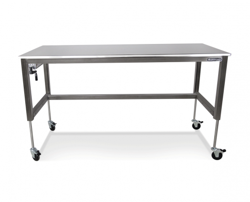 basix stainless steel height adjustable desk