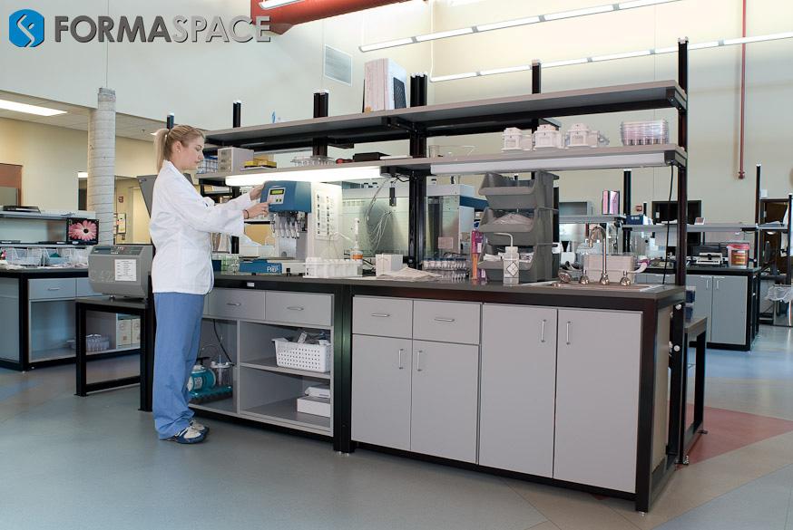 hematologist testing at lab bench