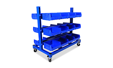 mobile blue storage bins
