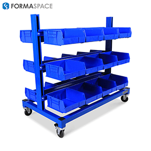 blue mobile bin rails cart