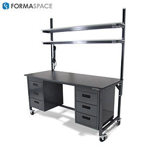 benchmarx with upper black phenolic shelves and lower cabinet storage and left side power cables