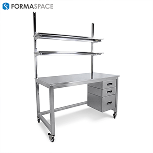 clean room gallery mobile stainless steel workbench with lower drawers