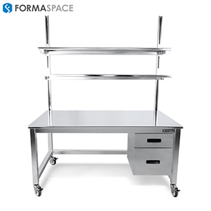 mobile clean room stainless steel workbench with upper shelves