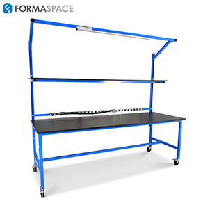 mobile clean room benchmarx blue steel frame and overhead lighting