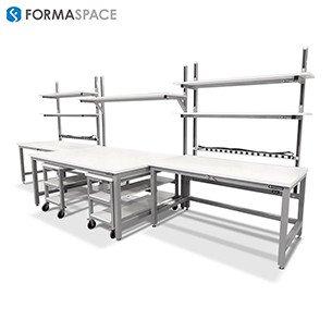 gray frame u shaped esd workstation