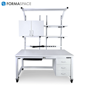 white esd workbench with upper and lower storage