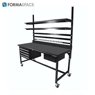 black workbench with cusotm storage
