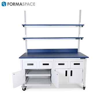 custom shelving lab workbench