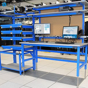 blue tech lab workstation with anti esd server rack