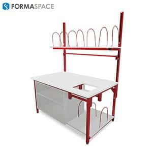 packing and shipping station with wire shelf dividers gallery
