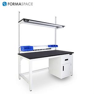 white benchmarx with bin rails and phenolic top