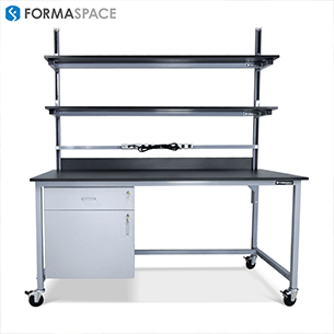 sample processing lab workbench with upper shelf