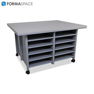 gray storage shelving units