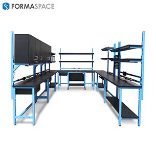 tech lab u shaped modular computer workstation with upper storage
