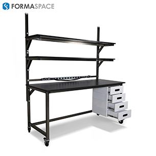 mobile benchmarx with adjustable upper shelves and lower cabinets