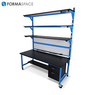 chemical resistant laboratory benchmarx with sliding shelf cabinetry system