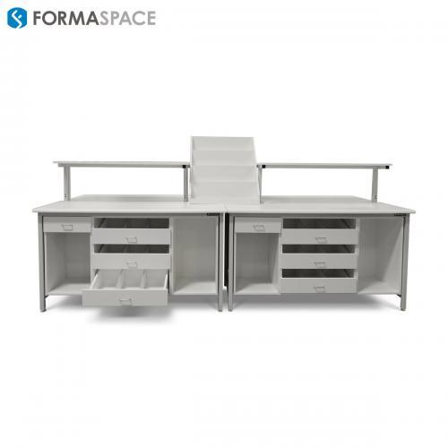 pharma filling station bench custom storage