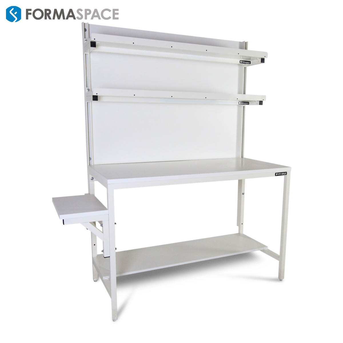 white packing workstation with upper and lower shelves
