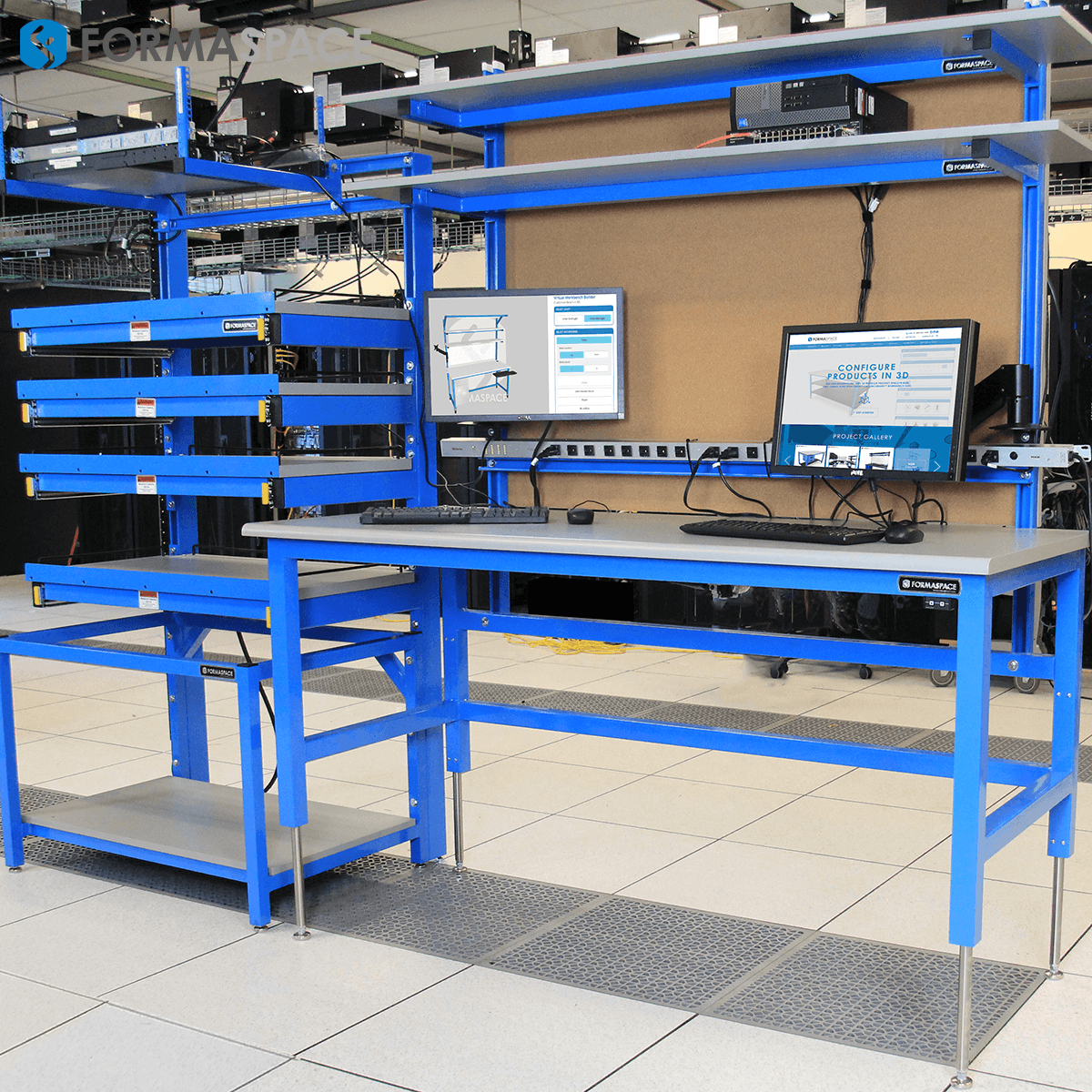tech lab workbench server rack combo