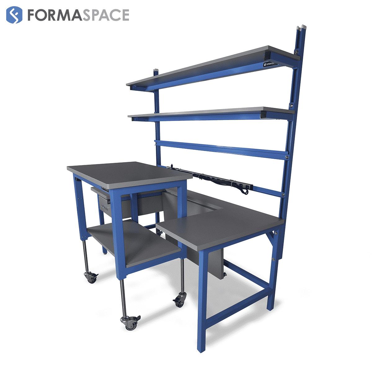 mobile cart cut-out tech lab workstation