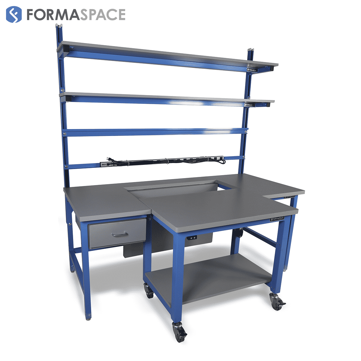 custom design tech workbench with mobile cart attachment
