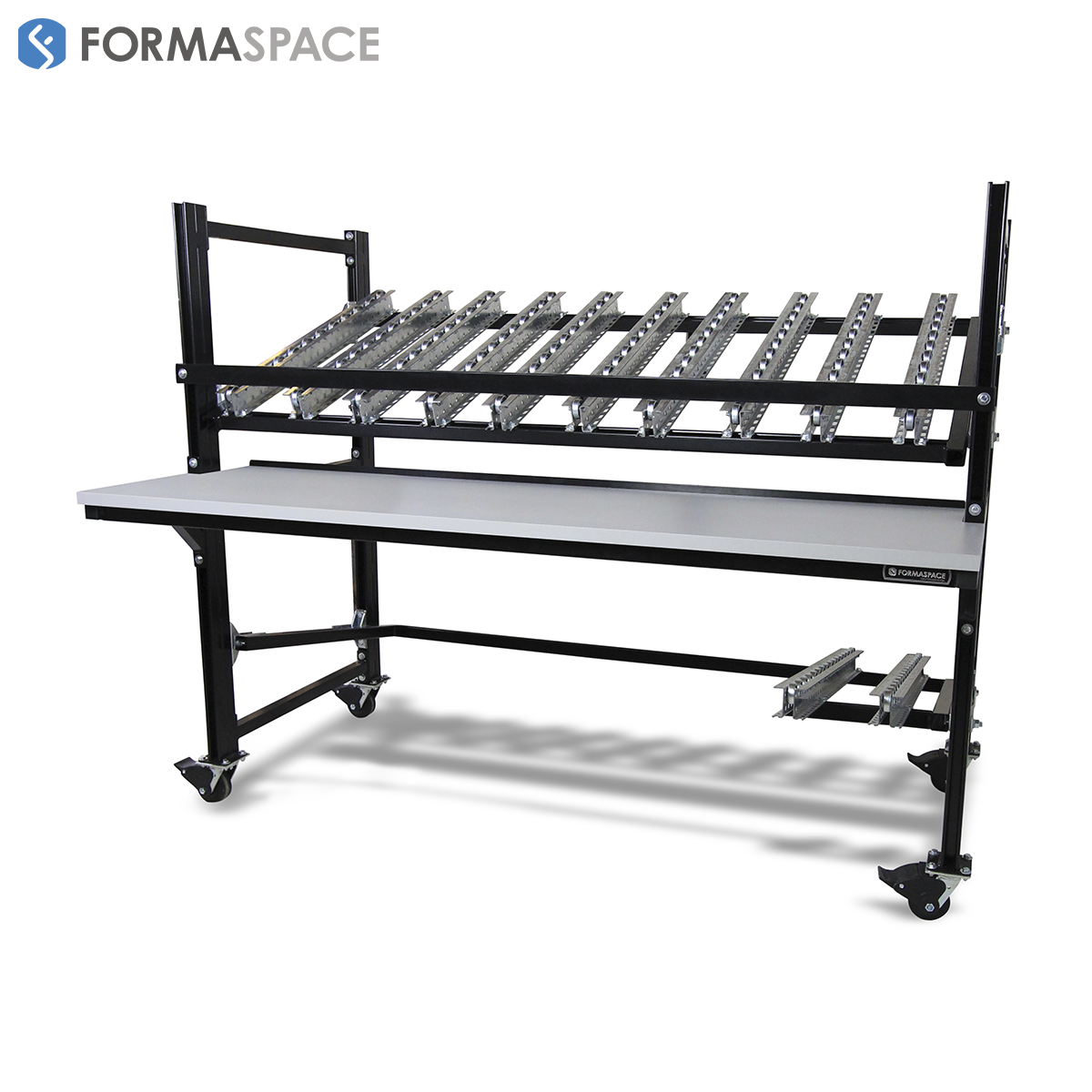 Mobile Flow Rack with Conveyor Rails