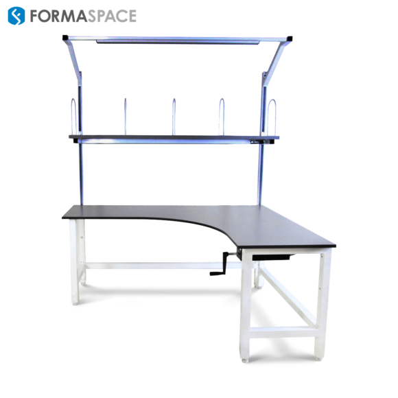 adjustable height corner workbench for pharmaceutical company