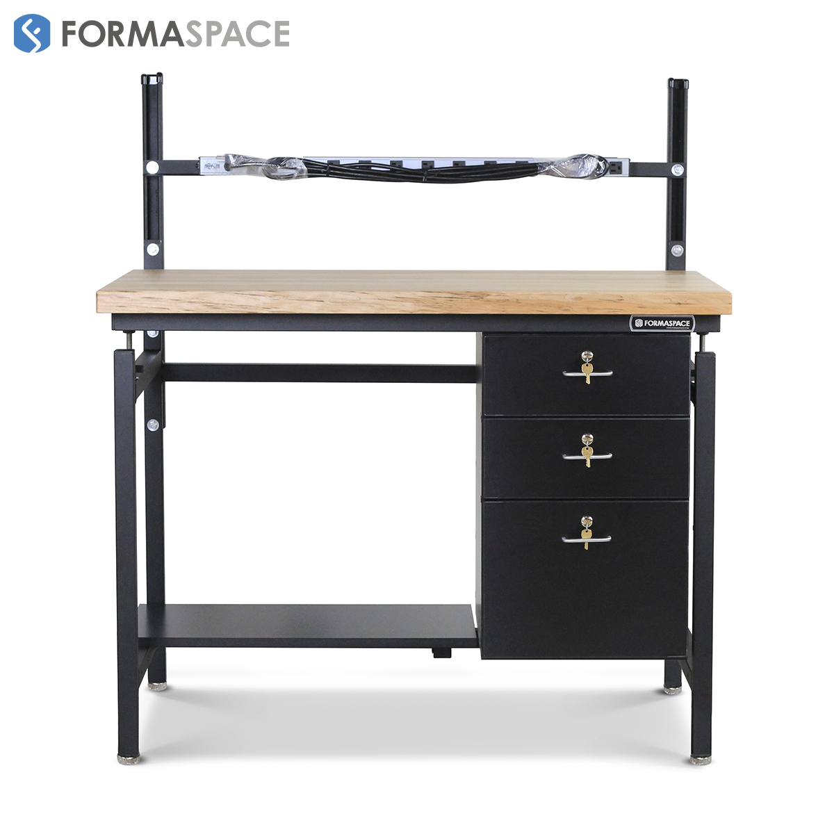 industrial workstation with maple top lockable drawers
