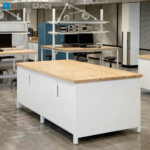 Highter Education Innovation Lab with Collaborative Islands and Designated Workstations