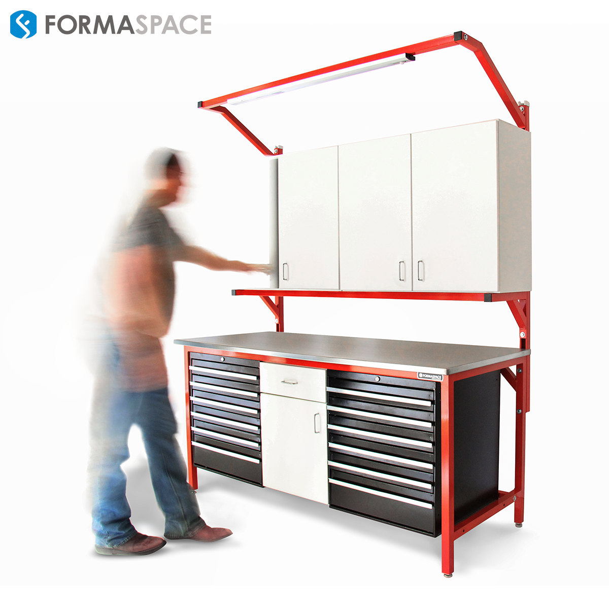 Outstanding Industrial Steel Workbench With Storage Formaspace Interior Design Ideas Apansoteloinfo