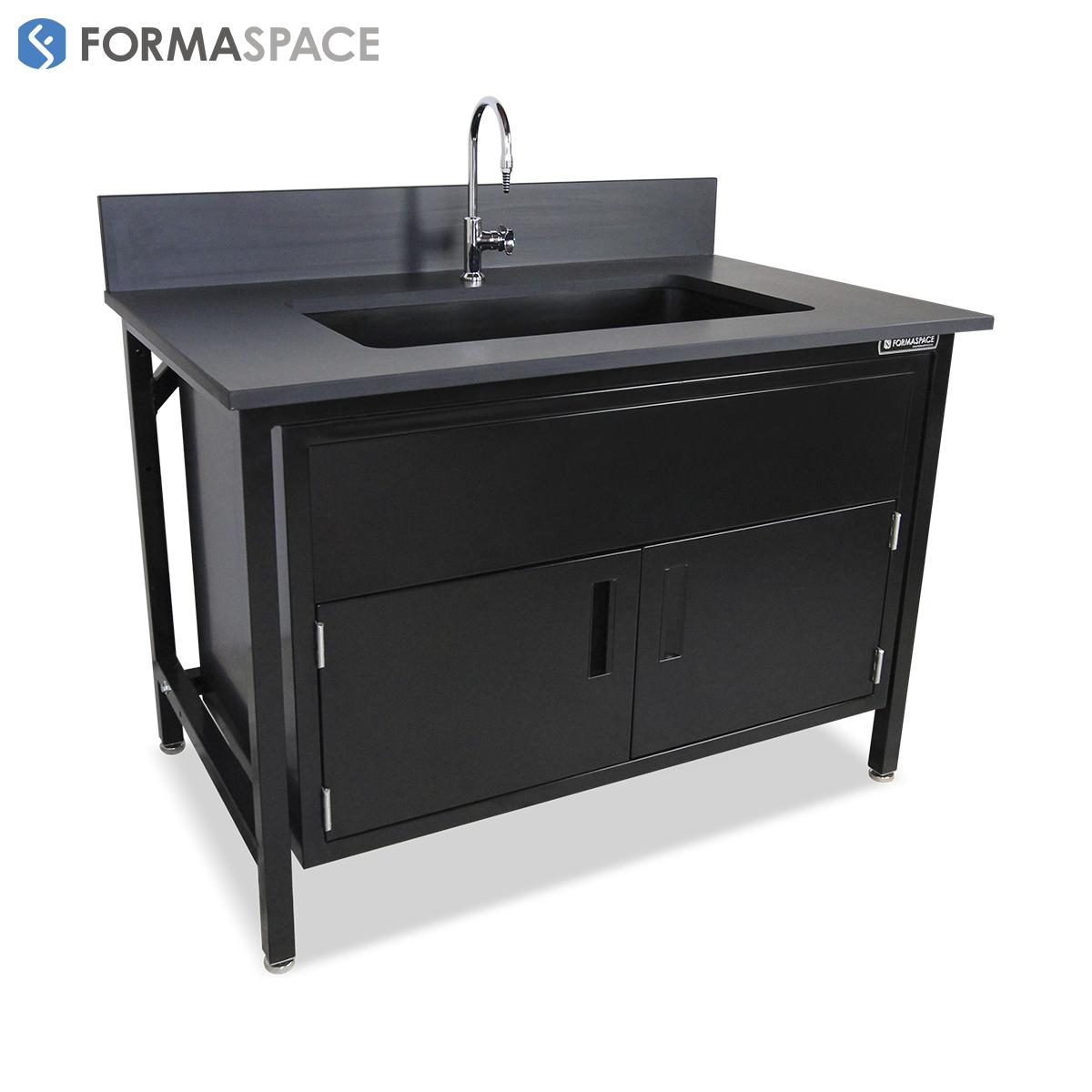 Black Epoxy Sink Basix with Double Door Steel Cabinet