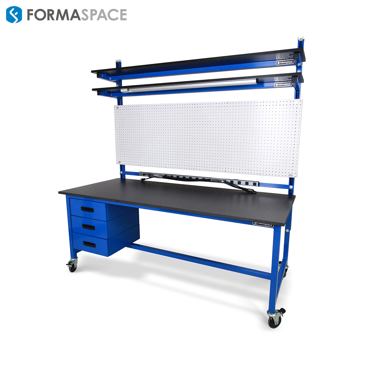 Tall pegboard workbench for tool organization