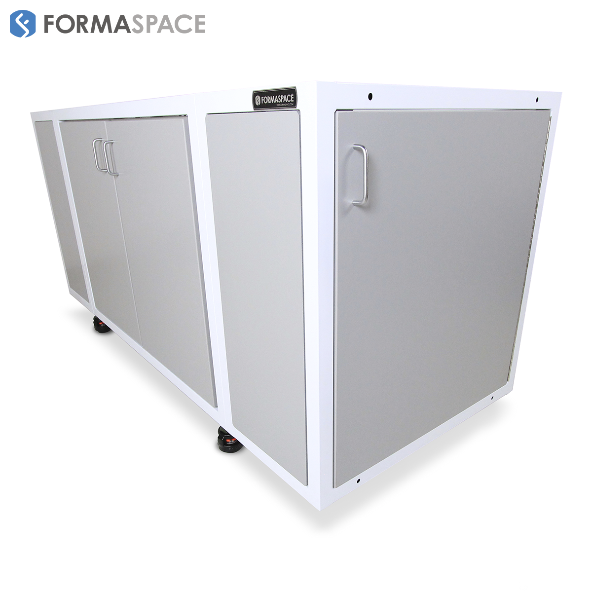 mobile kitting base with center and side cabinets
