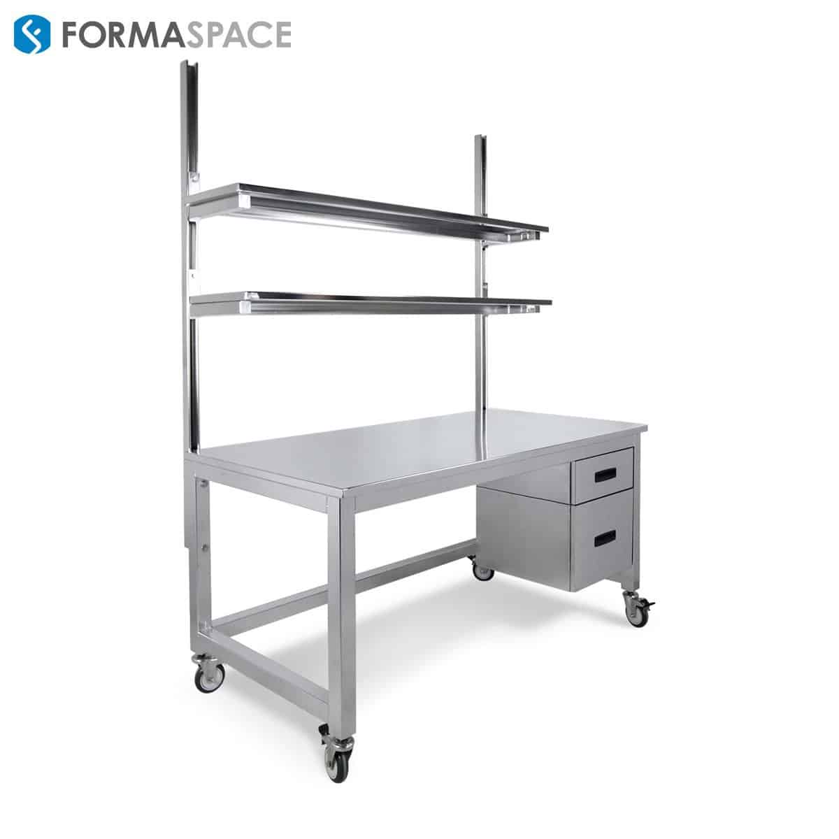 electropolished stainless steel workbench with upper shelves